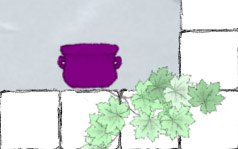 Purple planter and some leaves (mentioned previously)