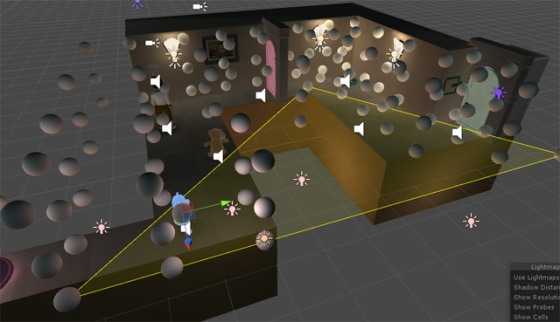 The bear is using light probes scattered across the level.