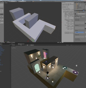 Basic geometry in Blender, and what it looks like imported into Unity with other game elements.